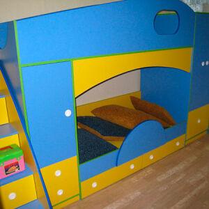 Сине-желтая двухъярусная кровать  DDK-170