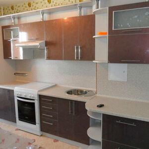 Коричневая кухня МДФ KMDF-356