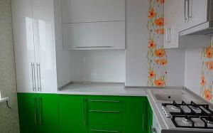 Кухня из пластика с рисунком в маки KP-338