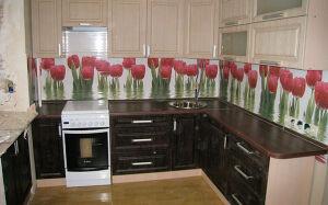 Кухня с рамочным фасадом в тюльпаны KRF-180