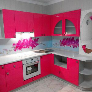 Красная кухня МДФ KK-009
