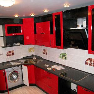 Черно-красная угловая кухня UK-178