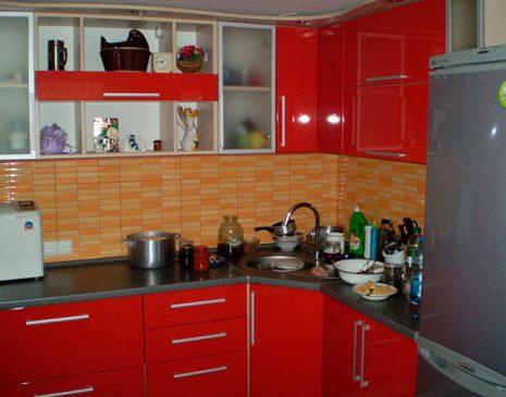 Красная кухня из пластика KKP-024