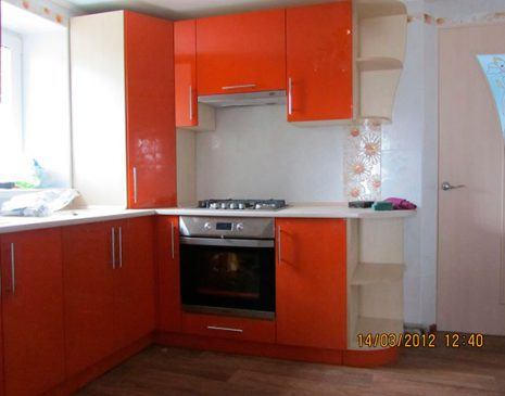 Оранжевая пластиковая кухня OPK-028