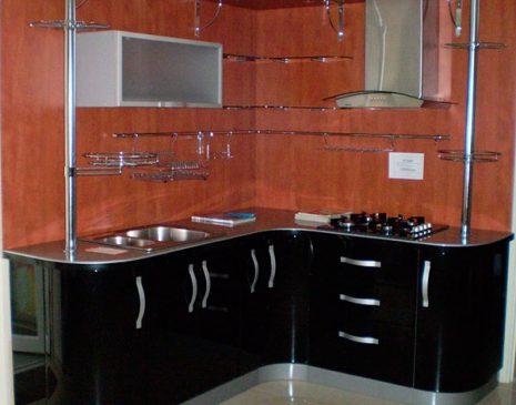 Черная угловая кухня CUG-039