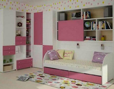 Бело-розовая стенка в детскую комнату SD-151