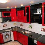 черно-красная угловая кухня