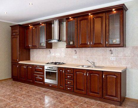 Темно-коричневая кухня из массива KM-191