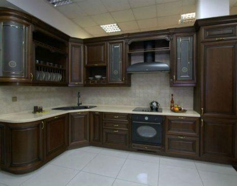 Кухня из темного дерева KD-195