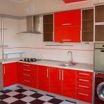 Красная кухня из эмали
