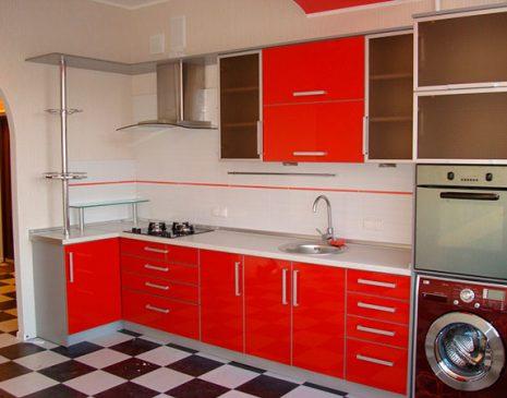 Красная кухня из эмали KE-334