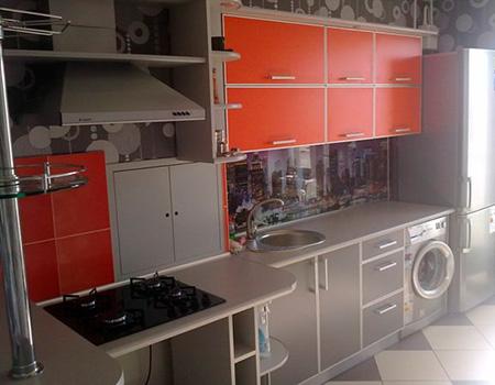 Кухня встроенная красно-серая KV-450
